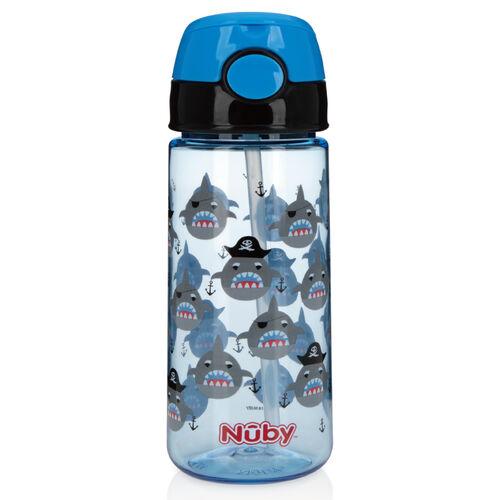 Nuby 晶透運動水杯(細吸管)532Ml鯊魚